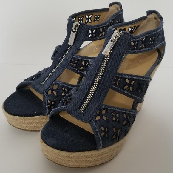 8ab81dd3f68 MICHAEL Michael Kors Shoes - MICHAEL KORS sz 8.5 Denim Open Zipper Wedges